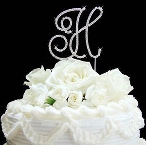 Gold Plated Crystal Initial Wedding Cake Topper