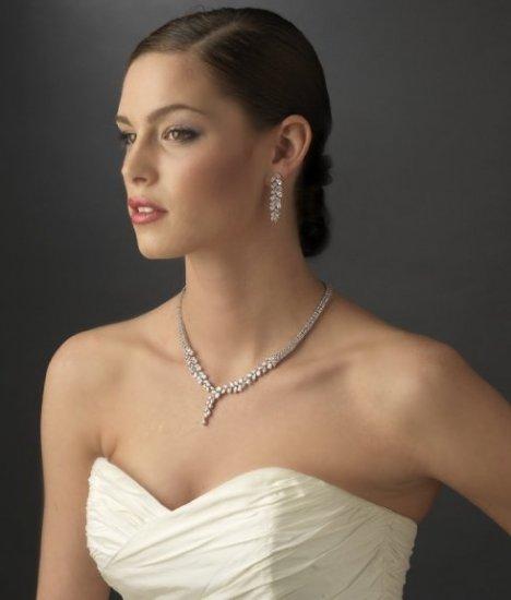 New Silver Plated Cubic Zirconia CZ Drop Bridal Wedding Jewelry Set!