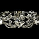 Silver Plated Crystal Rhinestone Bridal Wedding Bracelet