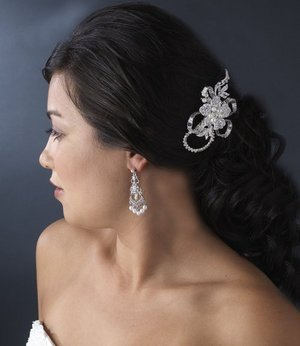 Silver Plated Diamond White Pearl Floral Bridal Comb