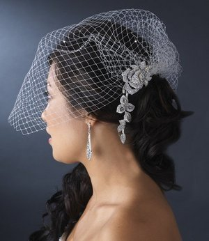 Birdcage Wedding Veil and Sparkling AB Rhinestone Bridal Comb