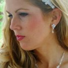 NEW! SILVER FLORAL PEARL & CRYSTAL BRIDAL JEWELRY SET