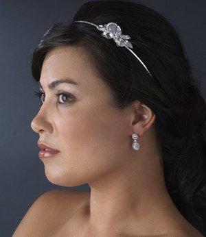 Silver Bridal Wedding Headband Crystal Side Accent!
