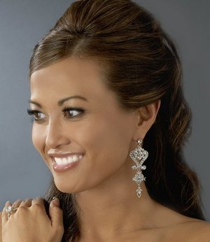 """3"""" Silver Plated Crystal Bridal Wedding and Prom Chandelier Earrings"""