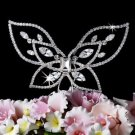 NWT SILVER PLATED CRYSTAL BUTTERFLY WEDDING CAKE TOPPER