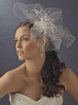 Couture French Net & Feather Bridal Headpiece Comb! White or Ivory!