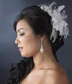 NEW! Ivory Bridal Beaded Feather Fascinator Hair Comb!