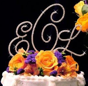 Silver Plated Crystal Monogram Wedding Cake Topper