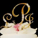 Gold Plated Crystal Monogram Wedding Cake Topper