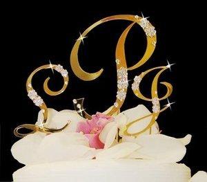 Gold Plated Crystal Monogram Wedding Cake Topper