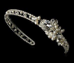 Ivory Freshwater Pearl & Rhinestone Bridal Wedding Headband