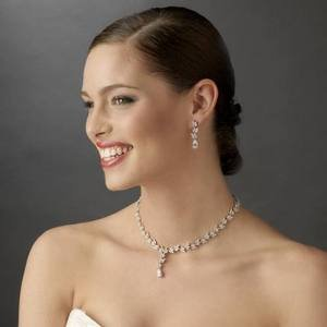 Elegant Silver Plated Cubic Zirconia Bridal Wedding Jewelry