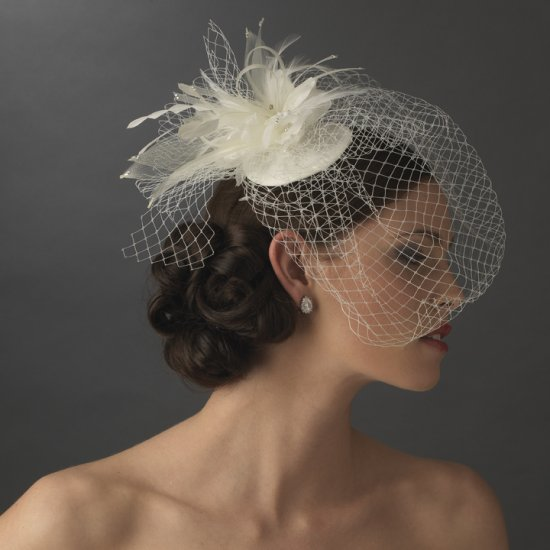 White Bridal Birdcage Veil Vintage Inspired Wedding Hat with Crystals and Feathers