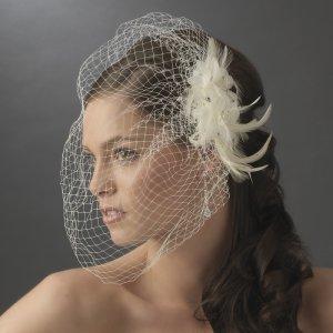 Ivory Birdcage Bridal Veil and Flower Fascinator Hair Clip