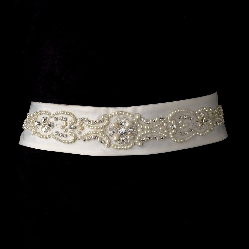 Ivory beaded wedding dress belt sash with pearls and crystals for Ivory wedding dress belt