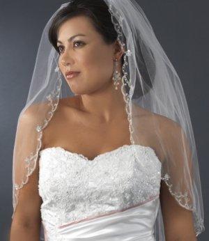 White Elbow Length Wedding Bridal Wedding Veil with Beaded Silver Embroidery Edge