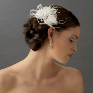 Couture White Feather & Rhinestone Bridal Fascinator Wedding Comb