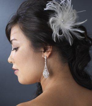NEW! Elegant White Bridal Feather Fascinator Hair Clip!