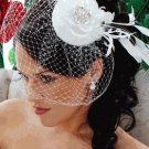 Haute Couture White Bridal Feather Flower Hat with Rhinestones and Birdcage Wedding  Veil!