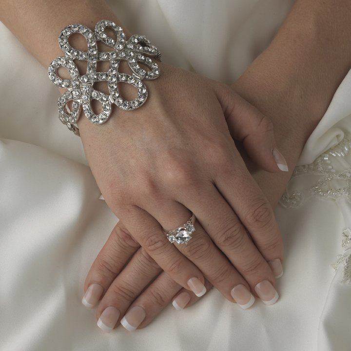 Sparkling Silver Plated Vintage Style Bridal Cuff Wedding Bracelet