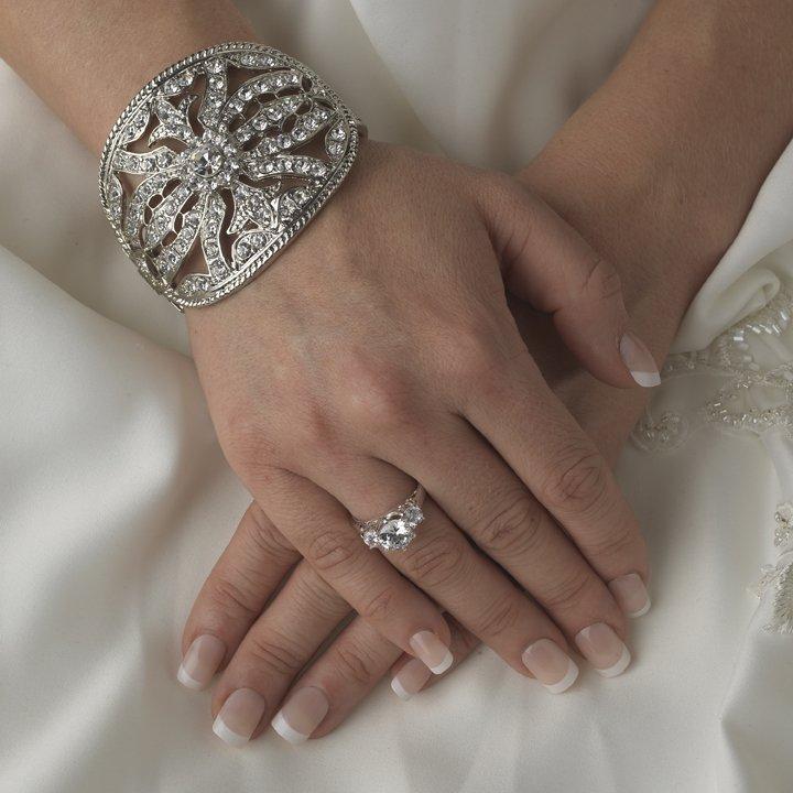 Bold Silver Vintage Look Rhinestone Bridal Cuff Wedding Bracelet