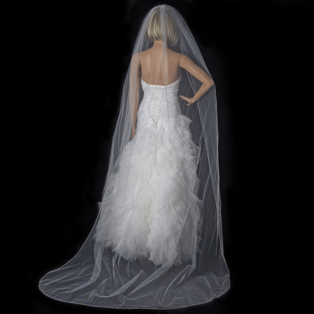 Crystal Beaded Cathedral Wedding Bridal Veil in  Ivory