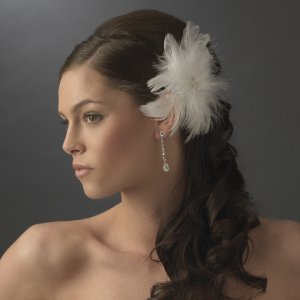Ivory Wedding Feather Fascinator Rhinestones & Crystals