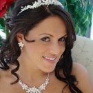 Winter Wonderland Silver White Bridal Jewelry and Wedding Tiara Set