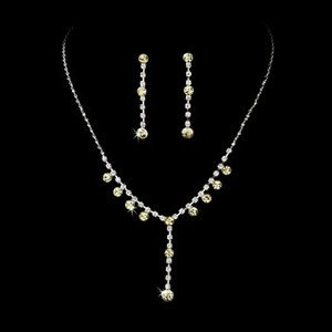5 Sets Yellow Rhinestone Drop  Bridesmaid Wedding Party Jewelry Sets