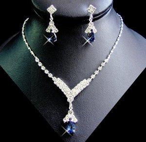 Set Navy Blue Rhinestone Bridesmaid Wedding Jewelry Bridal Party