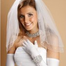 Mariell White 2 Tier Bridal Shoulder Length Wedding Veil Beaded Pearls and Sequins