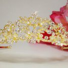 Gold Plated Wedding Bridal Tiara with Rhinestones, Crystals and Pearls