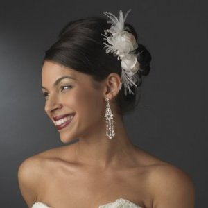Ivory and Rum Pink Flower Feather Bridal Hair Wedding Comb