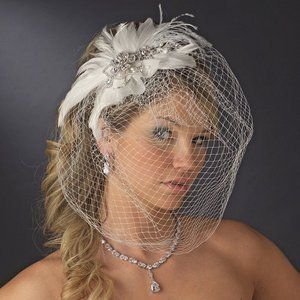 Couture Crystal and Freshwater Pearl Feather Bridal Fascinator Birdcage Wedding Veil