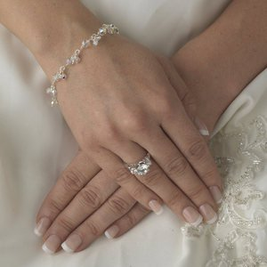 New! Silver Plated Petite Bridal Wedding Bracelet with Clear or AB Crystals