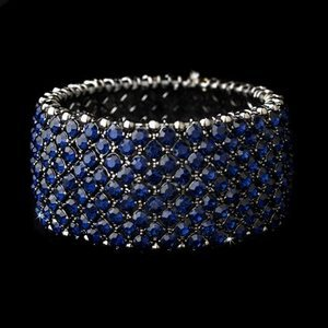 Navy Blue Rhinestone Prom Wedding Pageant Bridal Bracelet