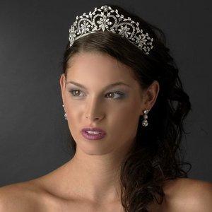 "Ornate 2"" Silver Plated Crystal Wedding Bridal or Prom Tiara!"