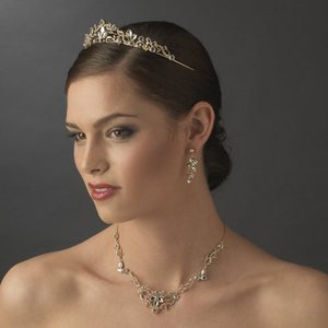 Gold Plated Crystal Bridal Tiara plus Wedding Necklace Earring Jewelry Set