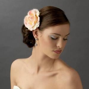 Romantic Floral Pink Rose Flower Bridal Wedding Hair Clip!