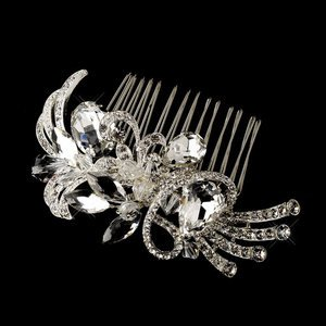 Vintage Inspired Silver Plated Crystal Bridal  Comb for Wedding, Prom