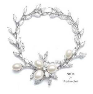 NEW! Mariell Freshwater Pearl and CZ Bridal Wedding Bracelet