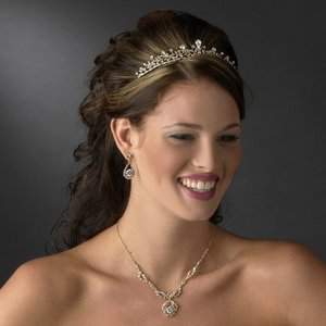 Gold Plated Princess Rhinestone Wedding Bridal Prom Tiara