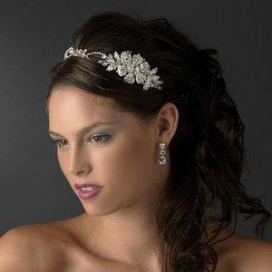 New! Dazzling Silver Plated Side Acccent Bridal Rhinestone Wedding Headband!