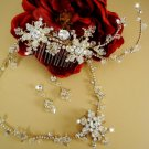 Couture Gold Plated Crystal Bridal hair Comb and Wedding Jewelry Set