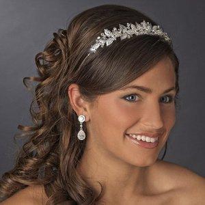 Silver Plated Crystal and Rhinestone Wedding Bridal Tiara hp604