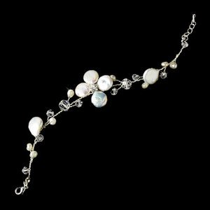 New Silver Plated Beach Wedding  Keshi Pearl And Crystal Bridal Bracelet