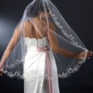 "Couture 42"" Fingertip Length Wedding Bridal Veil with beautiful Beaded Embroidery"