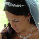 Couture Pink and Clear Crystal Bridal Jewelry and Wedding Tiara Set