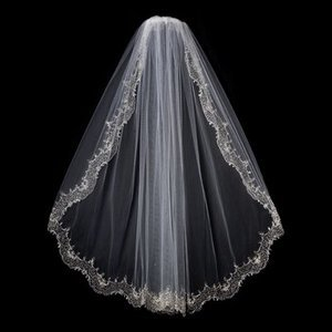 Gorgeous Elbow Length Bridal Wedding Veil With Beaded Embroidery