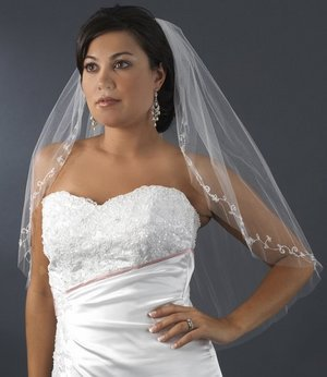 White Elbow Length Bridal Wedding Veil with Beautiful Beaded Embroidery